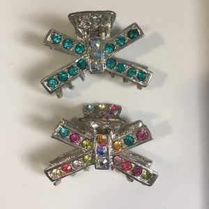 2 Jeweled Hair Catcher Clips